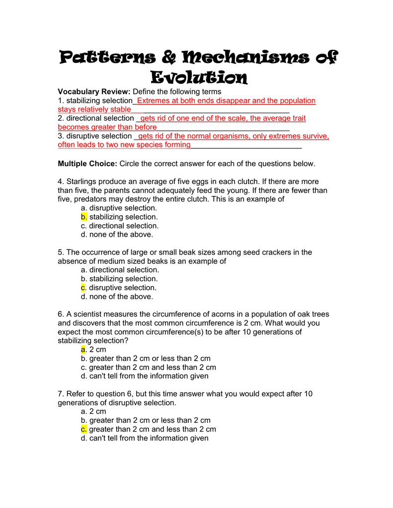 Mechanisms Of Natural Selection Worksheet