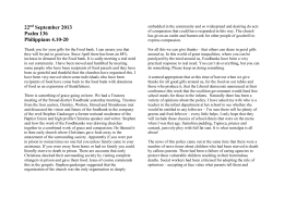 22nd September 2013 Psalm 136
