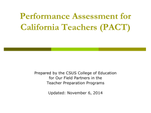 PACT Information for Cooperating Teachers