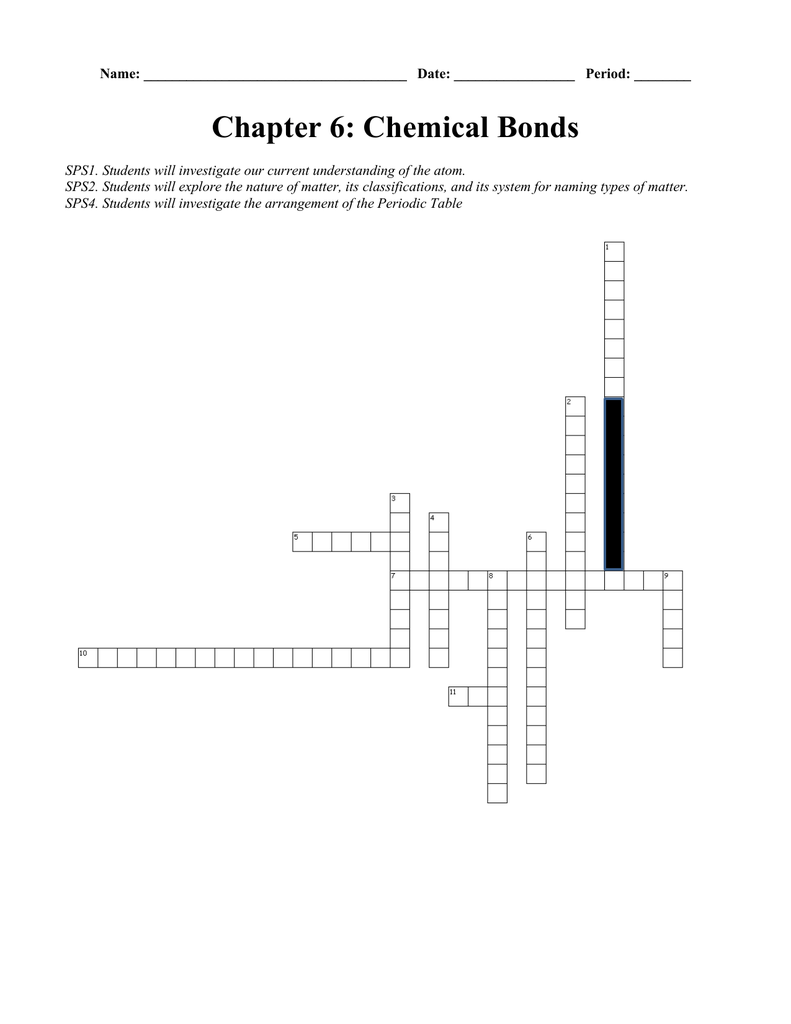 worksheet Chemical Bonding Review Worksheet ch 6 chemical bonds crossword puzzle