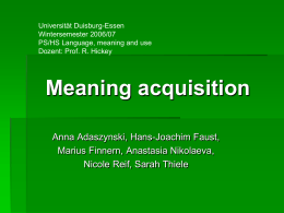 Meaning acquisition - an der Universität Duisburg