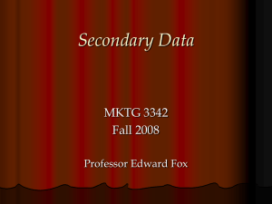 Lecture 5 - Secondary Data