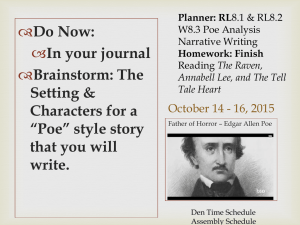 October 14, 15, 16 Poe Narrative 8th Grade Honors October
