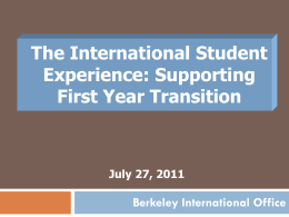 Getting Your International Students to Berkeley