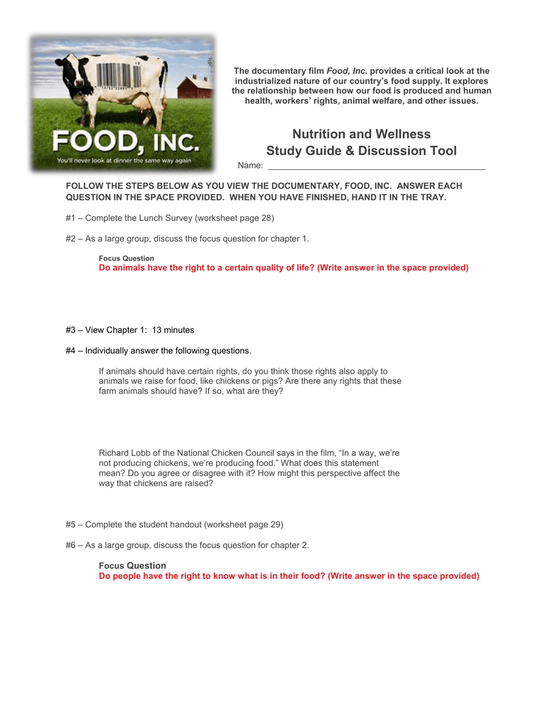 Nutrition and Wellness Study Guide & Discussion Tool Intended For Food Inc Movie Worksheet Answers