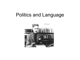 Politics and Language