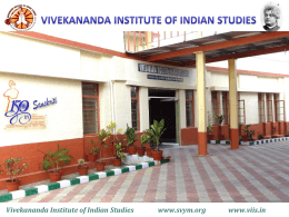 PPT On VIIS - Vivekananda Institute of Indian Studies