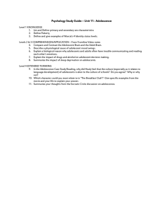 Psychology Study Guide – Unit 11: Adolescence Level 1