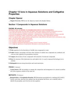 CHEMISTRY Solutions Objectives CHEMISTRY Chapter 14 Study