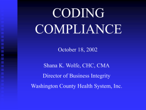 Coding Compliance - Health Care Compliance Association