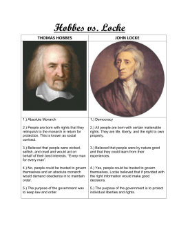 Thomas Hobbes Vs John Locke Human Nature