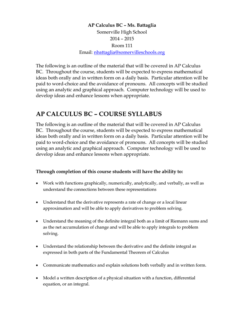 Ap calculus syllabus college board