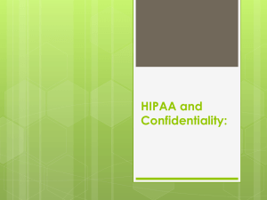 HIPAA and Confidentiality