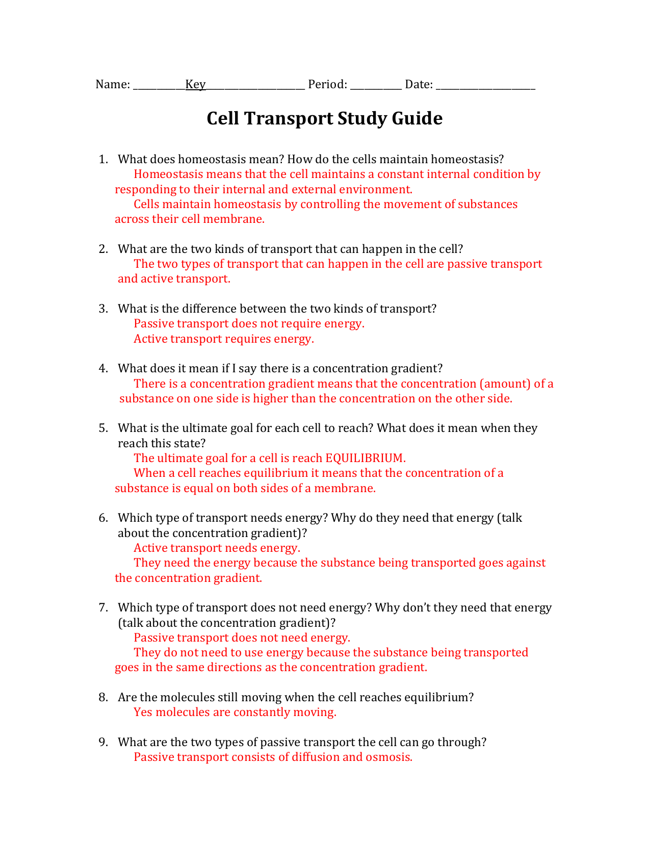 worksheet Homeostasis And Transport Worksheet cell transport study guide answers