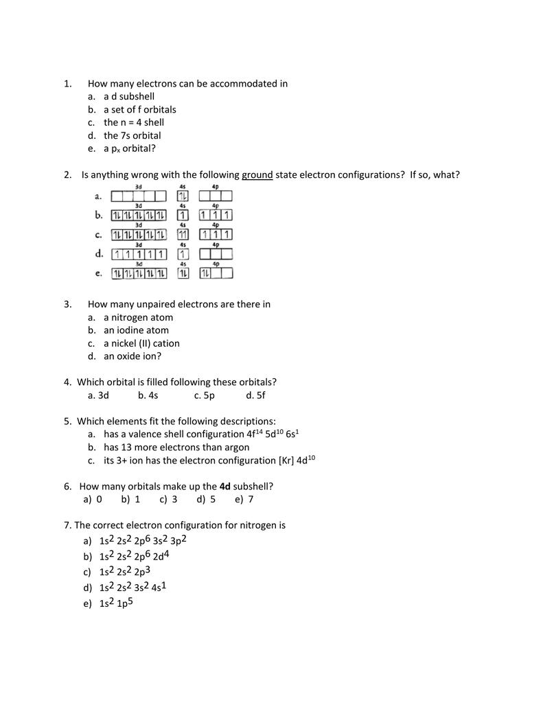 100+ [ Electron Configuration Worksheet 2 Answers ] | Quantum ...