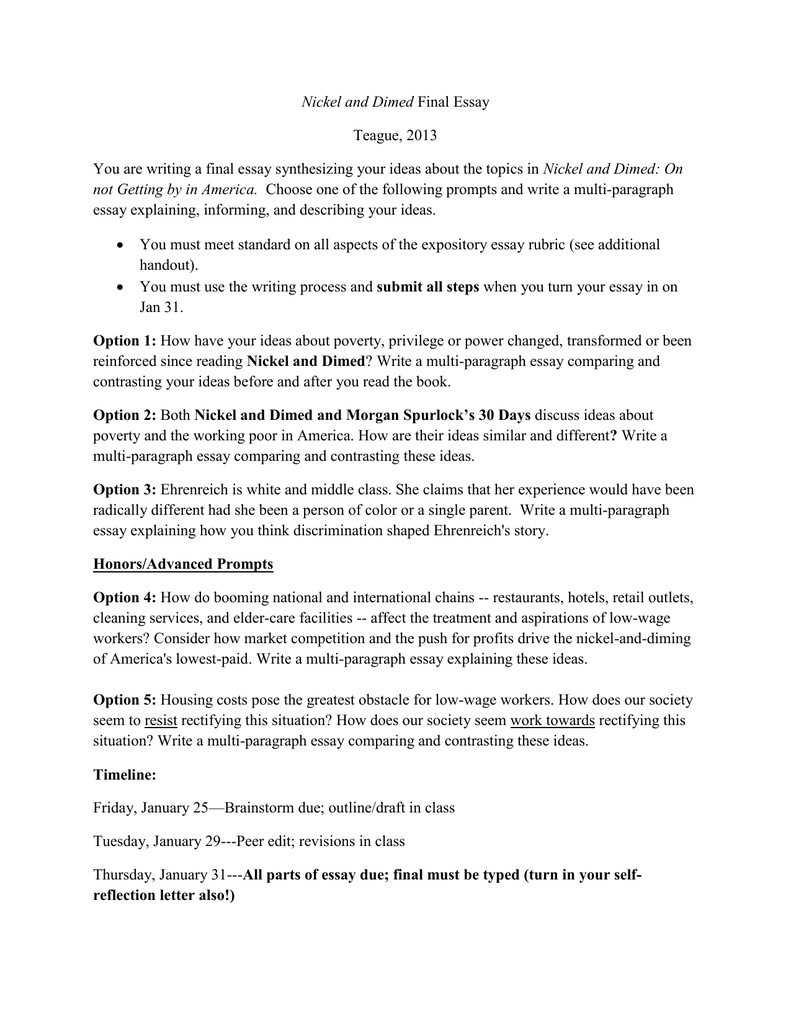 Essay About Paper  Essay On How To Start A Business also Important Of English Language Essay Nickel And Dimed Final Essay Prompts Example Of Thesis Statement In An Essay
