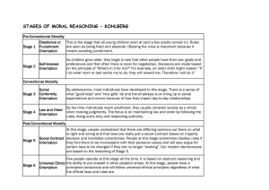Kohlebergs Stages of moral reasoning - 9RE-EP