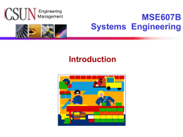 Introduction to Systems Engineering Course