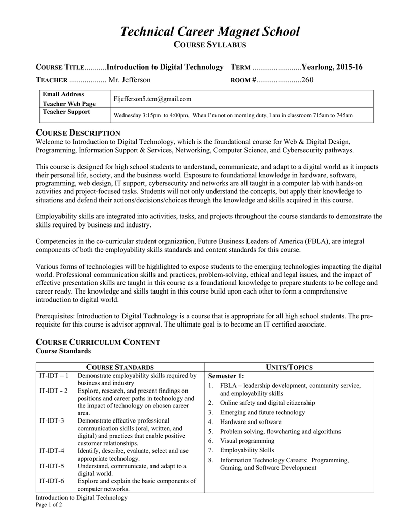 idt course syllabus