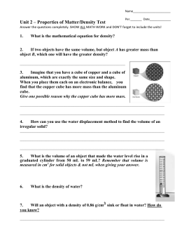 Chemistry unit 1 worksheet 4 mass volume and density answers
