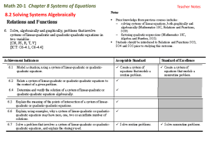 8.2 Solve a Linear-Quadratic System of Equations Algebraically