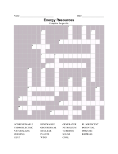 Energy Resource Crossword