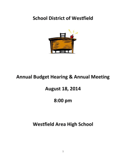 Annual Meeting Packet 8-18-14 - School District of Westfield