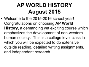 AP WORLD HISTORY August 2007