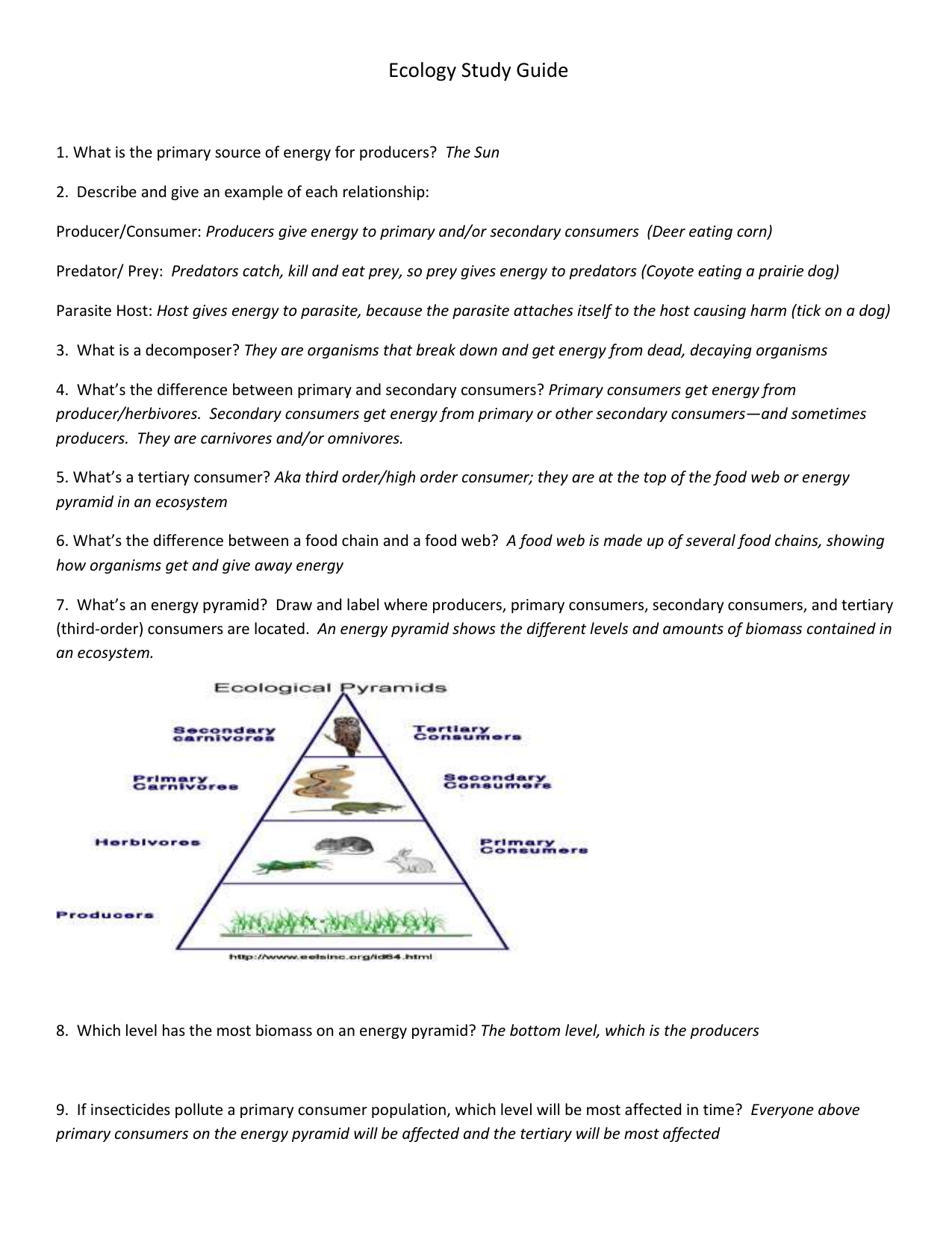 worksheet Ecology Review Worksheet ecology study guide 1 what is the primary source of energy for