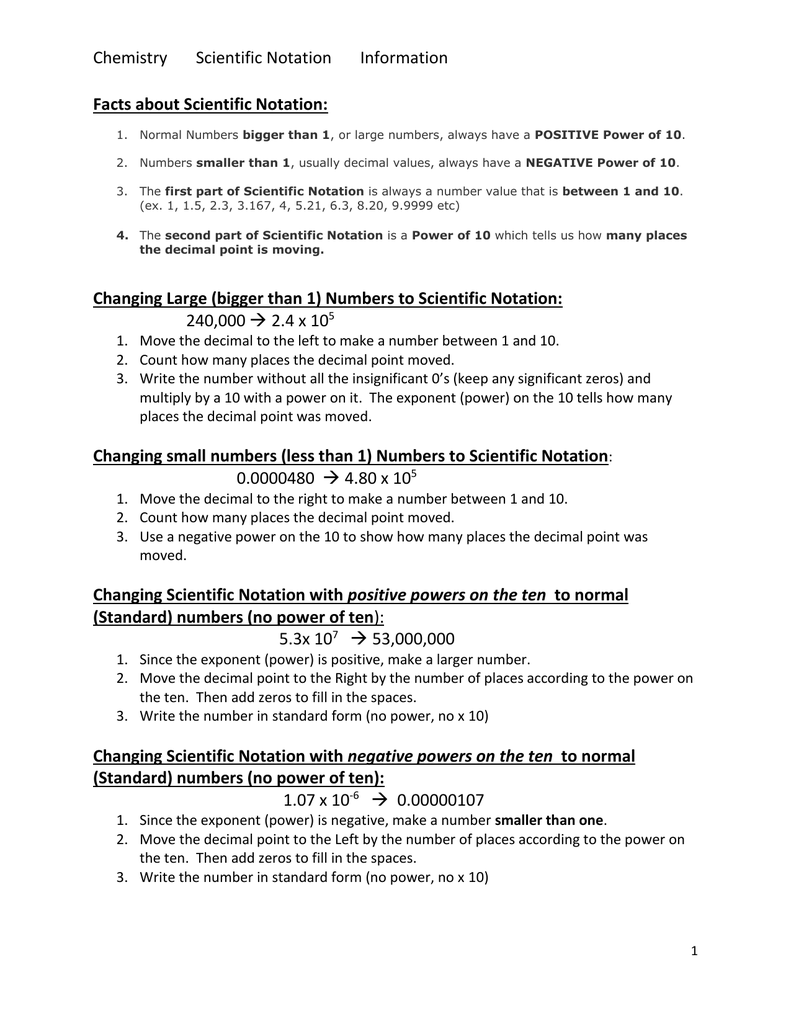 Scientific Notation Information Scientific Notation Info And Worksheets