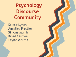 Psychology Discourse Community