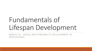 March 19 – Social and Personality Development in