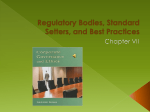 Regulatory Bodies, Standard Setters, and Best Practices