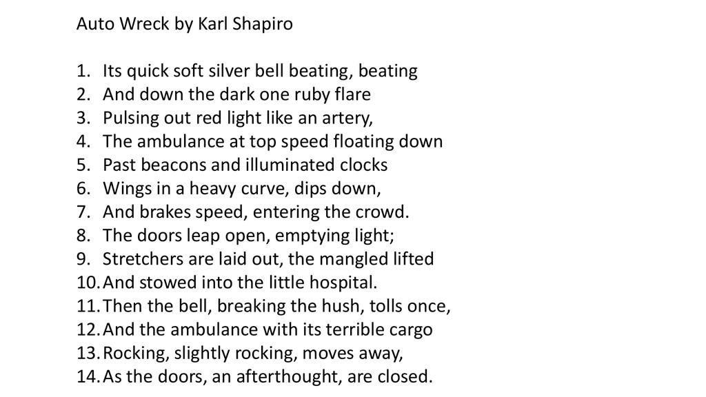 auto wreck poem summary