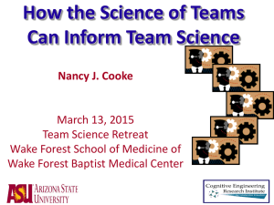 Why Team Science? - Wake Forest Baptist Medical Center