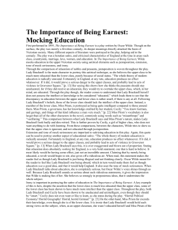feminism in the importance of being earnest feminism in the the importance of being earnest mocking education