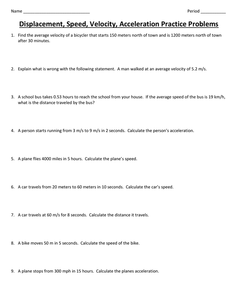worksheet Speed Calculation Worksheet distance displacement speed velocity and acceleration problems