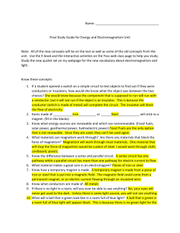 Name: Final Study Guide for Energy and Electromagnetism Unit