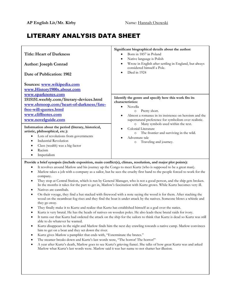 Literary analysis data sheet biocorpaavc