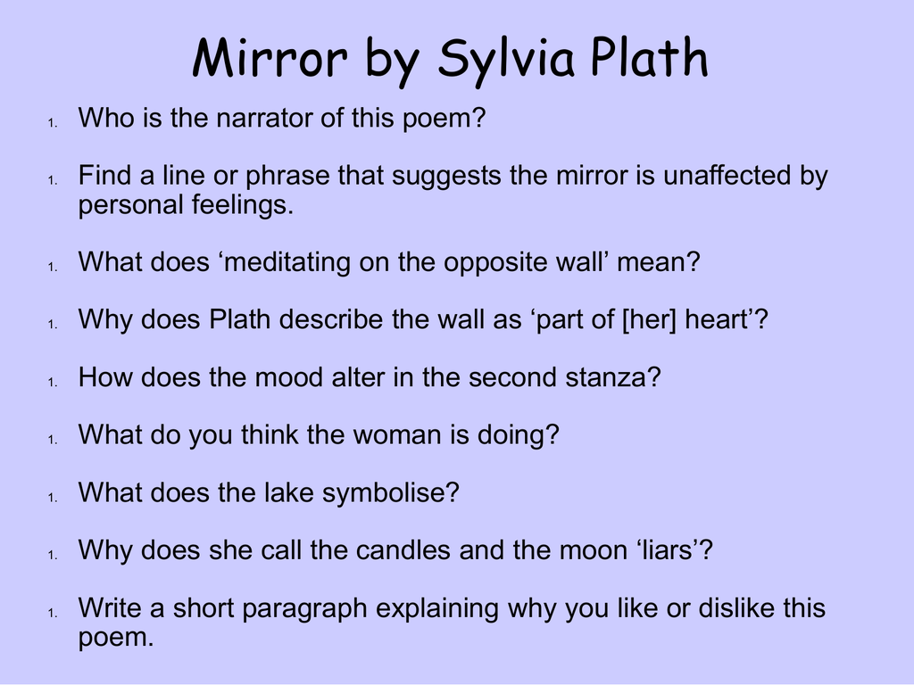 Mirror by Sylvia Plath