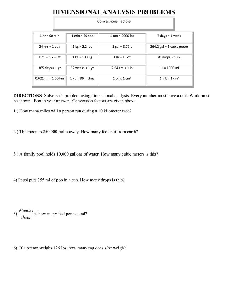 Worksheet Dimensional Analysis Practice Worksheet Carlos Lomas