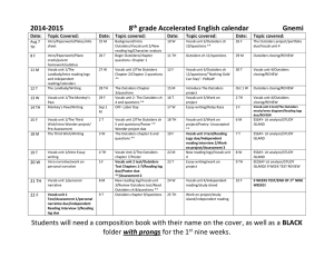2014-2015 8 th grade Accelerated English calendarGnemi