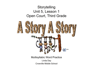 StoryTelling Unit5, Lesson 1 Open Court, Third Grade