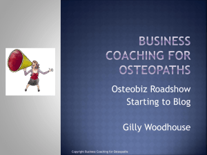 Starting to Blog - Business Coaching for Osteopaths