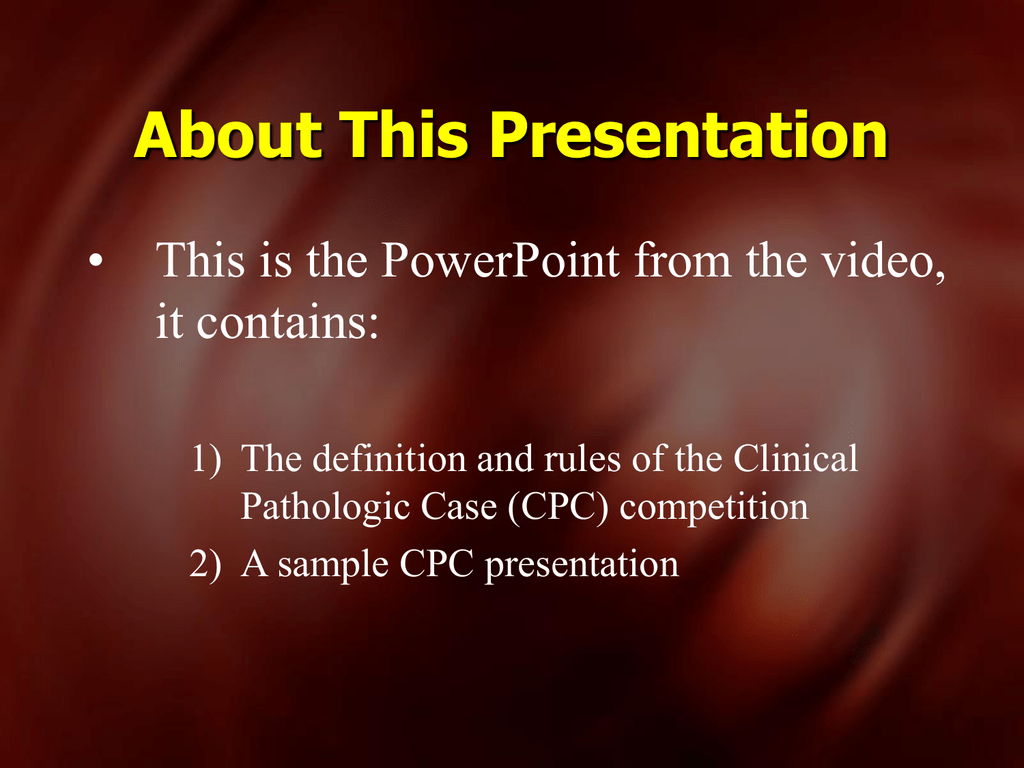 CPC Presentation - The Eighth Mediterranean Emergency Medicine