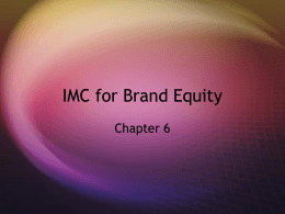 IMC for Brand Equity