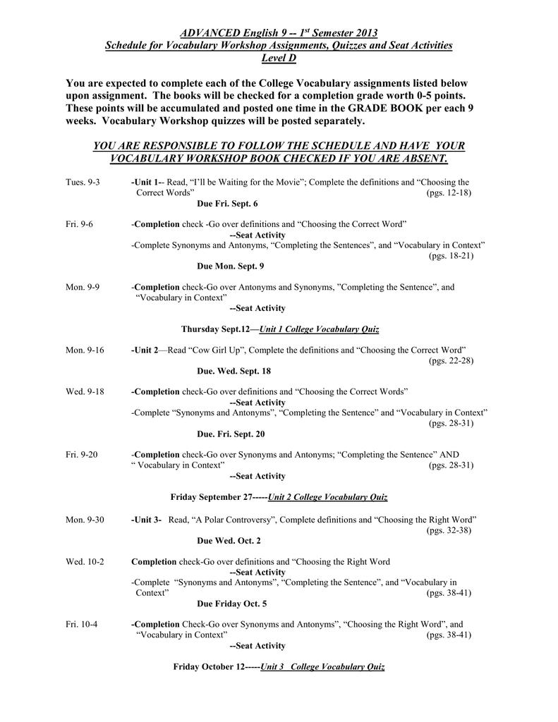 Friday September 27-----Unit 2 College Vocabulary Quiz
