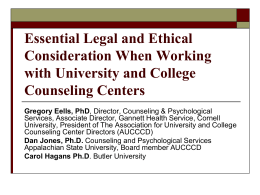 ethical considerations in counseling The american psychological association's ethical principles of psychologists and code of conduct provides guidance for psychologists in professional, scientific and.