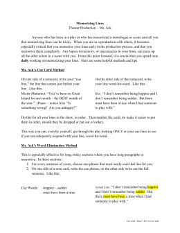 Memorizing Lines Theater Production – Ms. Ask Anyone who has
