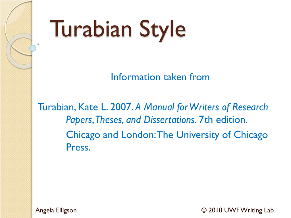Turabian style title page